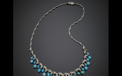 White gold diamond necklace with an oval turquoise graduated...