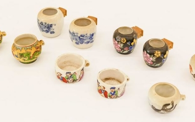 10pc Chinese Porcelain Bird Feeders 2'' Each Approx.