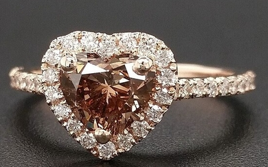 1.33ct Natural Fancy Vivid Orangy Brown, Diamonds - 14 kt. Pink gold - Ring - ***No Reserve Price***