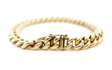 14ct yellow gold curb link bracelet marked 585 leaf likely 1...
