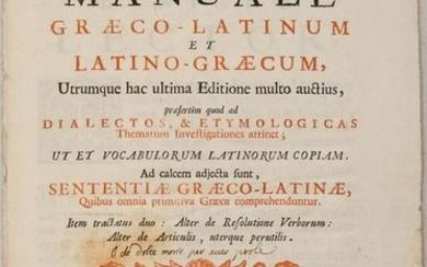 1715 Greek Latin Dictionary Title Page -- Lexicon