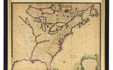 1763 MAP OF BRITISH DOMINIONS IN AMERICA BY THOMAS