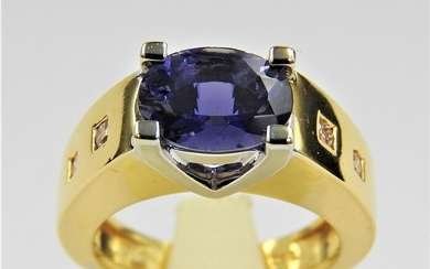 18 kt. Bicolour, White gold, Yellow gold - Ring - 3.00 ct Iolite - Diamond