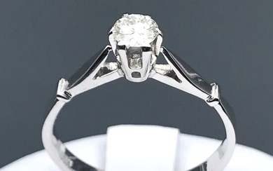 18 kt. White gold - Ring - 0.22 ct Diamond