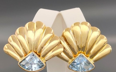 18 kt. Yellow gold - Earrings - 10.00 ct Topaz