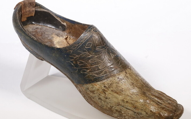 18TH C. CARVED AND PAINTED WOODEN SHOE ON LUCITE STAND