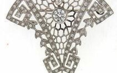 18k White Gold and Diamond Pendant & Pin / Brooch with