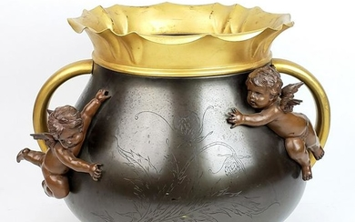 19th C. Patinated & Gilt Spelter Jardiniere with