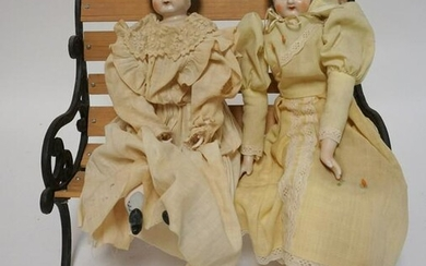 2 CHINA DOLLS AND A DOLL BENCH
