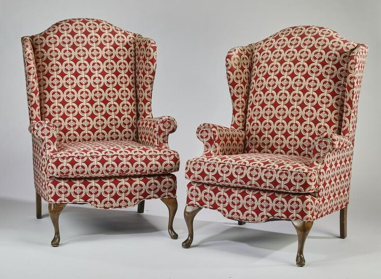 (2) Custom upholstered Queen Anne style wing chairs