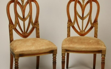 (2) Parcel gilt carved mahogany chairs