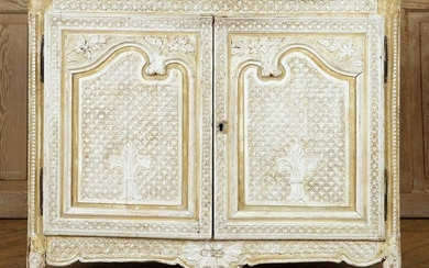 CARVED PAINTED FRENCH SERVER TRAVERTINE TOP