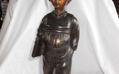 Ecole Italienne - Sculpture, 'Schoolboy to the book' - Bronze - First half 20th century