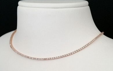 3.15ct Fancy Mix Pink Diamonds - 18 kt. Pink gold - Choker Necklace - ***No Reserve Price***