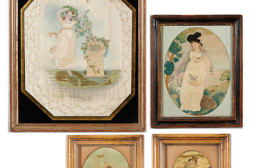 (4) English Painted Silk-Work Pictures