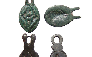 4 Late Roman/Byzantine hinged bronze seals