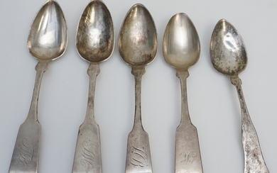 5 ANTIQUE AMERICAN COIN SILVER SPOONS
