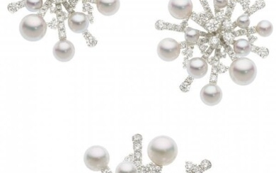 55003: Diamond, Cultured Pearl, White Gold Jewelry Suit