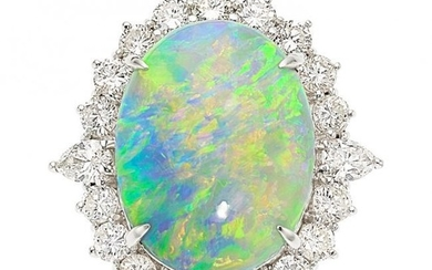 55103: Opal, Diamond, Platinum Ring The ring features