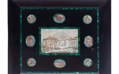 61003: An Italian Marble Plaque Set with Nine Micro-Mos