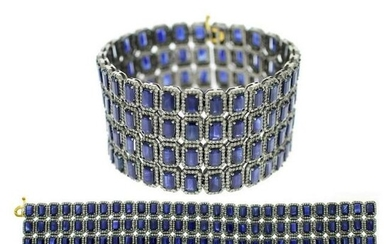 74.7 tcw Sapphire Natural Diamond Bracelet in .925