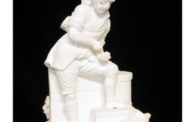 A 19TH CENTURY CONTINENTAL BISCUIT PORCELAIN FIGURAL GROUP, ...