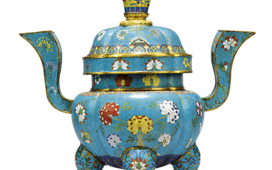 A CHINESE CLOISONNE ENAMEL 'FLORAL' LARGE TRIPOD CENSER AND COVER, 19TH CENTURY