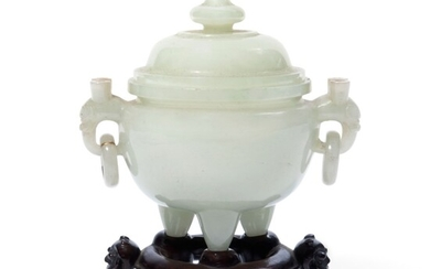 A CHINESE WHITE JADE CENSER AND COVER, 18TH CENTURY