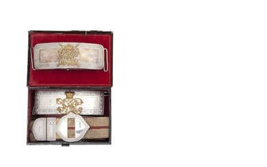 A Cased Silver-Mounted Flap Pouch And Shoulder-Belt Of An Officer In The 3rd (The King's Own) Hussars, And A Silver-Mounted Flap Pouch Of An Officer In The Hyderabad Cavalry Lancers, The First London Silver Hallmarks For 1900, Maker's Mark J.L, The...