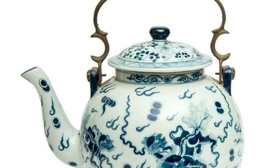 A Chinese Blue and White Porcelain Teapot.