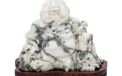 A Chinese Green and White Hardstone Figure of Laughing Buddha