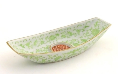 A Chinese standish / inkstand dish of oblong form, decorated...