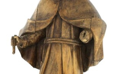 A Continental carved fruitwood religious figure