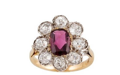 A DIAMOND AND PINK TOURMALINE CLUSTER RING, the cushion cut ...