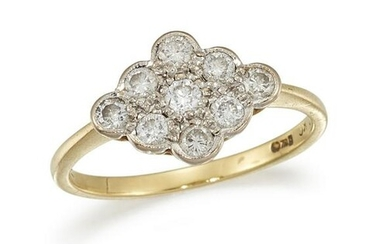 A DIAMOND CLUSTER RING Designed as a scalloped plaque
