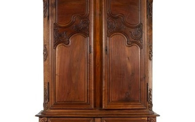 A French Provincial Walnut Linen Press