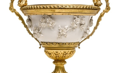 A French gilt-bronze mounted white porcelain and porphyry bowl, the gilt bronze socle and base second quarter 19th century, the porcelain Samson and circa 1880