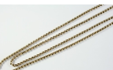 A GOLD TWO ROW FANCY LINK CHAIN NECKLACE 54cm long, 27 grams...
