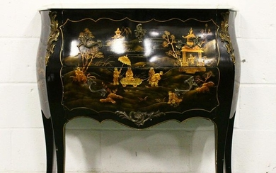 A GOOD LOUIS XVITH STYLE LACQUER BOMBE FRONTED COMMODE