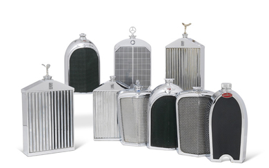 A GROUP OF NINE CHROMIUM-PLATED NOVELTY FLASKS, MOST BY RUDDSPEED LIMITED, ENGLAND, CIRCA 1960