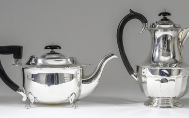 A George V Silver Oval Tea Pot and Hot...