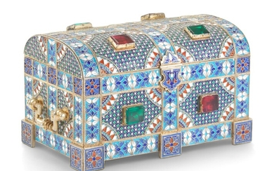 A LARGE CLOISONNÉ ENAMEL SILVER-GILT CASKET, MARKED KHLEBNIKOV WITH IMPERIAL WARRANT, MOSCOW, 1884