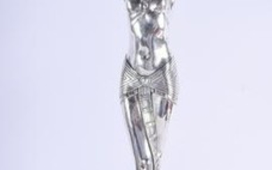 A LARGE SILVER PLATED DECO STYLE FIGURE. 55 cm high.
