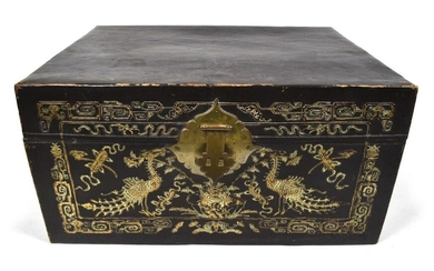 A LEATHER CHEST WITH INLAID PEACOCK DECORATION, China, Qing/Republic period - 42 x 80 x 61 cm