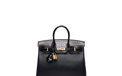 A LIMITED EDITION SHINY BLACK NILOTICUS CROCODILE & NOVILLO LEATHER TOUCH BIRKIN 25 WITH ROSE GOLD HARDWARE, HERMÈS, 2019