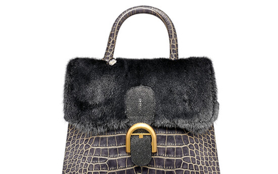 A LIMITED EDITION SILVER & GOLD CROCODILE, METALLlC SILVER MINK, GALUCHAT & PYTHON BRILLANT GM WITH GOLD HARDWARE, DELVAUX, 2010S