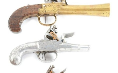 (A) LOT OF THREE: THREE ANTIQUE FLINTLOCK PISTOLS.