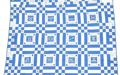 A Large 20th Century Blue and White Cotton Patchwork 'Signs...