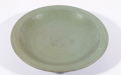 A Large Ming Celadon Dish with Impressed Floral Central Medallion and Well Shaped Lotus Border (Dia: 34cm)