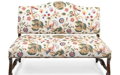 A Louis XIV Style Walnut Bench with Faux Crewelwork